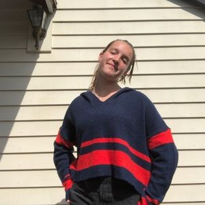 Cropped Women's Navy and Red Hoodie